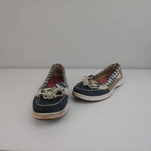 Womens 7 Sperry Top Sider boat shoes gray white